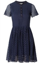 Sea Hole Punch Button Up Dress Navy