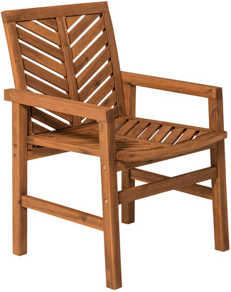 Set Of 2 Hewson Outdoor Patio Acacia Wood Chairs