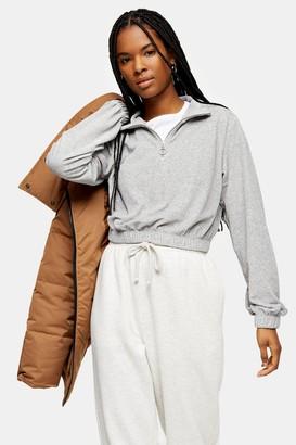 Topshop Womens Grey Velour Funnel Sweatshirt - Grey