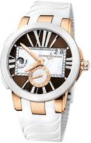 Ulysse Nardin Executive Dual Time Lady Brown Dial Rubber Strap Automatic Ladies Watch