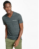 Express space dyed v-neck pocket tee