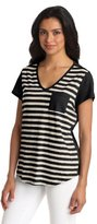 Chaus Women's Short Sleeve Horizontal Stripe Top With Pocket