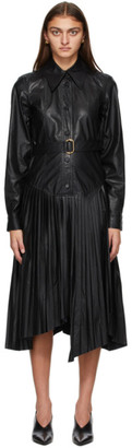 System Black Faux-Leather Pleated Dress