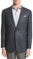 Armani Collezioni Men's G-Line Trim Fit Windowpane Wool & Cashmere Sport Coat