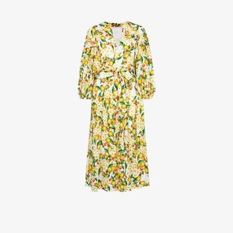 Borgo de Nor Mia lemon print broderie anglaise midi dress