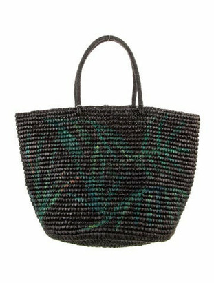 Sensi Woven Straw Tote Bag Black