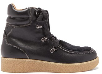 Isabel Marant Alpica Shearling And Leather Boots - Black
