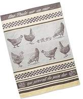 "DII Dish Towel - ""Une Poule"" - French Inspired Design - Jacquard Towel - Shades of Gray"