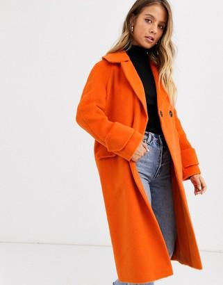 Miss Selfridge oversized coat in burnt orange
