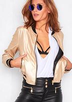 Missy Empire Mila Gold Metallic Faux Leather Bomber Jacket