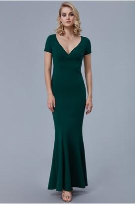 Goddiva Emerald Sweetheart Neck Maxi Dress