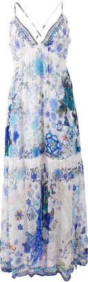 Camilla White Side of The Moon Shoestring Strap Gathered Dress