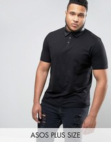 Asos PLUS Polo Shirt With Faux Leather Collar
