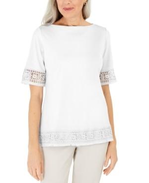 Karen Scott Cotton Crochet Fringed Top, Created for Macy's