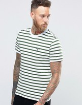 Barbour T-shirt With Breton Stripe With Beacon Logo In Green