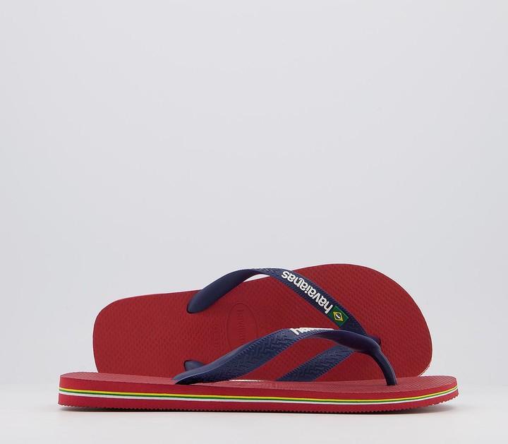 Havaianas Brasil Logo Flip Flops Red