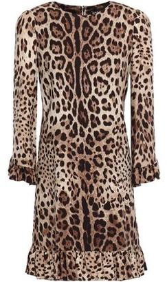 Dolce & Gabbana Ruffle-trimmed Leopard-print Stretch-silk Mini Dress