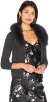Milly Blue Fox Fur Collar Cardigan