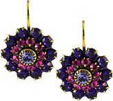 Liz Palacios Antique Gold Plated Swarovski Crystal Round Drop Earrings