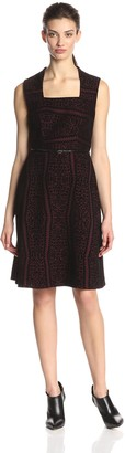 Andrew Marc Women's Sleeveless Lace Belted Dress