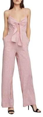 BCBGMAXAZRIA Pinstriped Tie-Front Wide-Leg Jumpsuit