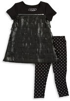 Flapdoodles Girls 2-6x Faux Leather Trim Dress and Leggings Set