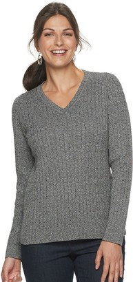 Croft & Barrow Women's Essential Cable-Knit V-Neck Sweater