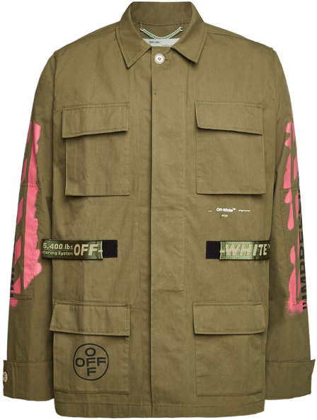 Off-White Cotton Diagonal Arrows Field Jacket