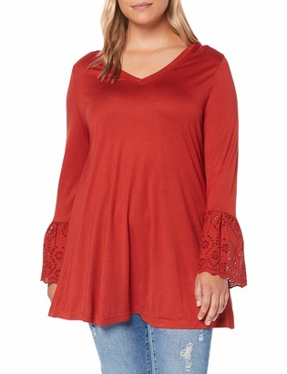 Simply Be Women's Ladies Broderie Cuff Long Sleeve Top T-Shirt