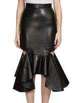 Givenchy Ruffled Cutout Leather Midi Skirt