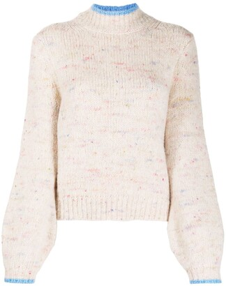 Chinti and Parker Contrast-Trim Bell Sleeve Jumper