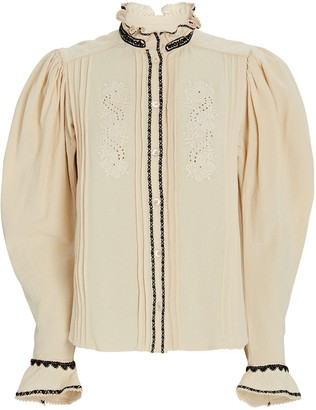 Etoile Isabel Marant Rosie Embroidered Cotton Blouse