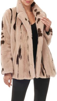 Gorski Jaguar-Print Mink Fur Jacket w/ Notch Collar