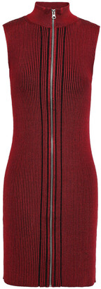 McQ Striped Ribbed-knit Mini Dress