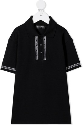 Versace Polo Shirt With Logo Edging