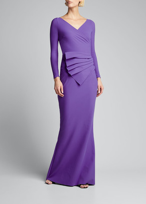 Chiara Boni Kaya Long-Sleeve Gathered Jersey Gown
