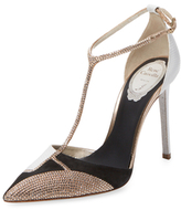 Rene Caovilla Pointed-Toe T-Strap Pump with Studs