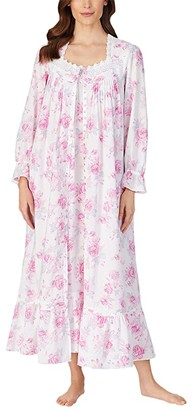Eileen West Cotton Lawn Woven Long Sleeve Ballet Nightgown (White Ground Rose Floral) Women's Pajama