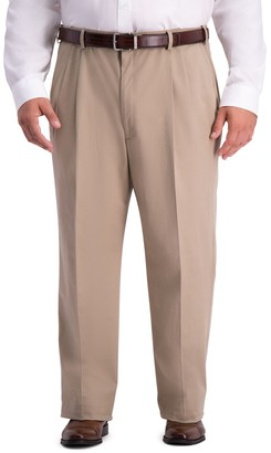 Haggar Big & Tall Work-To-Weekend PRO Relaxed-Fit Stretch Expandable-Waist Pleated Pants