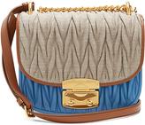 Miu Miu Matelassé linen and leather cross-body bag