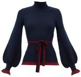 Roksanda Auric Belted Bell-sleeve Rib-knitted Wool Sweater - Womens - Navy Multi