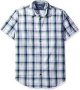 Calvin Klein Jeans Men's Linear Streak Plaid Short Sleeve Button Down Shirt