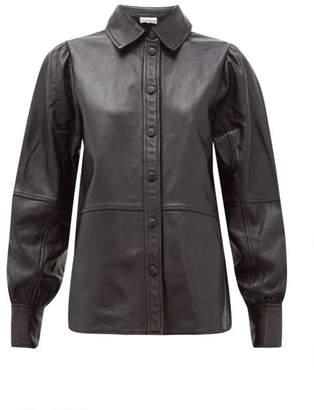 Ganni Balloon-sleeve Leather Shirt - Womens - Black