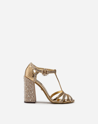 Dolce & Gabbana T-Strap Sandal In Mirrored Patent Leather With Rhinestones