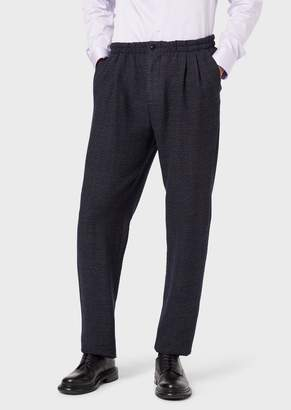 Giorgio Armani Jogger Trousers In Two-Colour Knit-Effect Virgin Wool