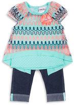 Little Lass Baby Girls Knit Topand Denim Capri Pants Set