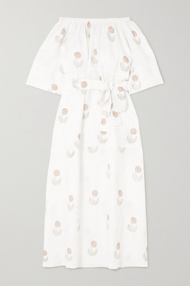 HANNAH ARTWEAR Elba Off-the-shoulder Belted Floral-print Linen Maxi Dress - White