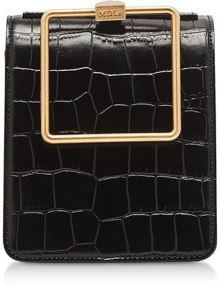 Croco Marge Sherwood Black Embossed Leather Large Pump Handle Satchel Bag