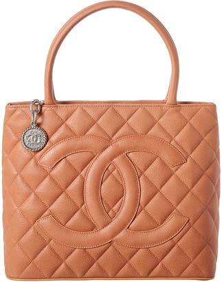 Chanel Peach Quilted Caviar Leather Medallion Tote