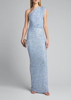 Rachel Gilbert Embellished One-Shoulder Gown